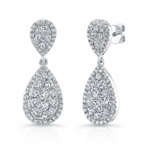 Bouquet Collection 14K White Gold Inverted Pear Shaped Diamond Dangle Earrings LVE297