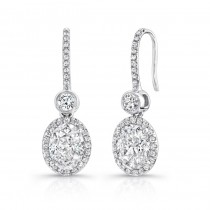 Uneek Oval Diamond Drop Earrings with Bezel-Set Round Diamonds, in 18K White Gold
