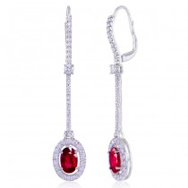 "Uneek Oval Ruby ""Spoon"" Dangle Earrings with Pave Diamond Halos, in 14K white gold"