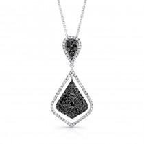 14K White Gold Black Shield Shaped Diamond Pendant LVN010BL