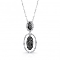 14K White Gold Black Oval Shaped Diamond Pendant LVN012BL