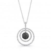 14K White Gold Black Round Shaped Diamond Pendant LVN013BL