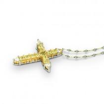 Uneek Platinum Yellow Diamond Cross Pendant LVN026