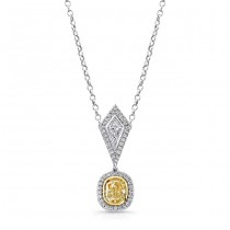 Natureal Collection 18K White and Yellow Gold Cushion-Cut Fancy Yellow Pendant LVN499