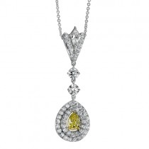 Natureal Collection Fancy Yellow Pear Diamond Pendant Set on Platinum and Yellow Gold LVN525