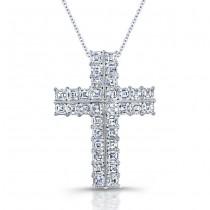 Uneek Platinum Asscher Diamond Cross Pendant LVN611