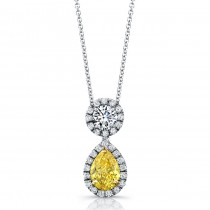 Natureal Collection Platinum Yellow Pear Diamond Pendant LVN646