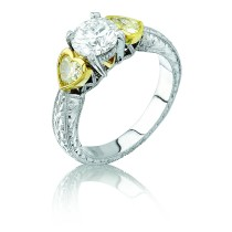 Natureal Collection Platinum and 18K Yellow Gold Heart Shape Yellow Diamond Ring LVS092