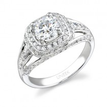 Uneek 18K White Gold Round Halo Diamond Engagement Ring LVS279