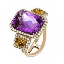 Breathtaking Zeghani Amethyst and Citrine Ring