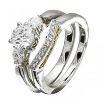 Zeghani Wedding Set With Three Stone Engagement Ring