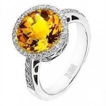 Handsome Zeghani Citrine and Diamond Ring