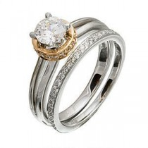 Lovely Designer Two Tone Diamond Wedding Set by Zeghani