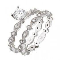 Stylish Zeghani Diamond Wedding Set in 14k White Gold