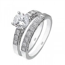 Zeghani Diamond Engagement Ring and Wedding Band Set