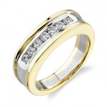 Uneek 18K White and Yellow Gold Round Diamond Men's Band WB114