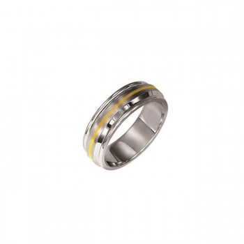 Triton 7mm Stainless Steel With 14K Yellow Gold Inlay Flat Brush Finish Comfort Fit Band 11-2057-G