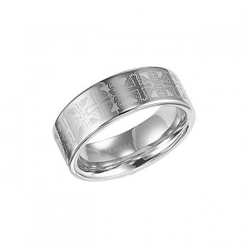 Triton 8mm Tungsten Carbide With Cross Laser Pattern Comfort Fit Band 11-01-2141