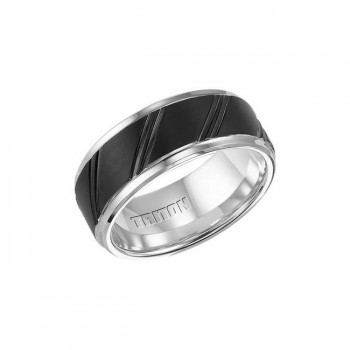 Triton 9mm Black And White Tungsten Carbide Beveled Step Edge Comfort Fit Band 11-01-4202
