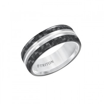Triton 8mm White Tungstenair Comfort Fit Band 11-01-5809