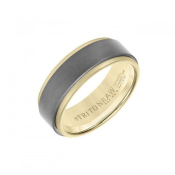 Triton Raw Gold - Flat Profile With Innovative Raw Matte Insert In Yellow 18K Gold Ring With Step Ed