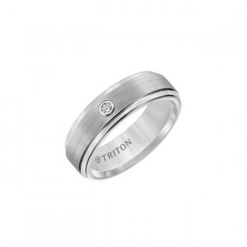 Triton 7mm White Tungsten Carbide Step Edge Satin Finish Comfort Fit Band 21-2161