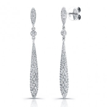 Uneek 18K White Gold Diamond Dangle Earrings E220
