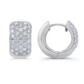 Uneek 18K White Gold Hoop Diamond Earrings LVE220