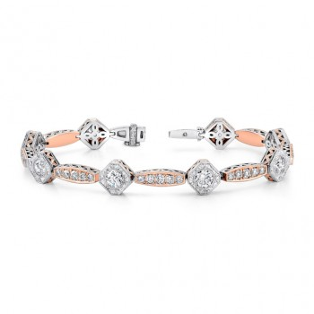 Uneek Art Deco-Style Two-Tone Diamond Bracelet, in 18K Gold