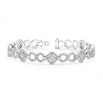 Uneek Princess-Cut Diamond Bracelet with Infinity-Style Pave Links, in 18K White Gold
