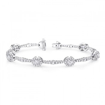 Uneek Oval Diamond Bracelet, in 18K White Gold