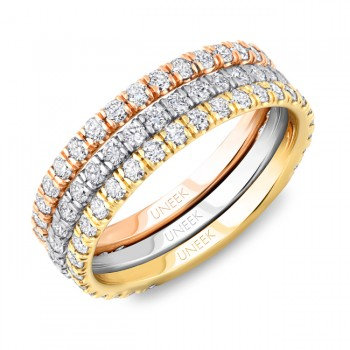 Uneek Tri-Tone Stackable Classic Pave Diamond Wedding Bands in 14K Gold