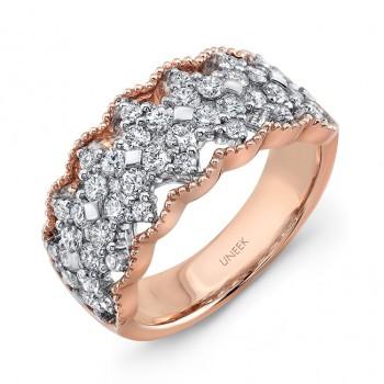 """Uneek """"Gossamer"""" Open Lace Diamond Band in 18K Rose Gold"""