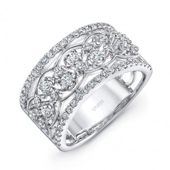 "Uneek Edwardian-Inspired ""Rose Garland"" Open Lace Diamond Band in 14K White Gold"
