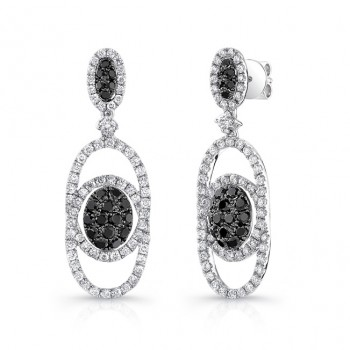 14K White Gold Black Oval Shaped Diamond Earrings LVE025BL