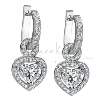 Uneek 18K White Gold Heart Shape Diamond Earrings LVE086