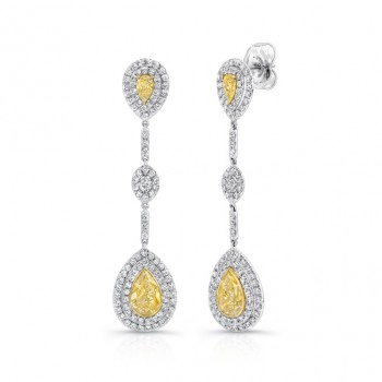 18K White & Yellow Gold Pear Shaped Yellow Diamond Dangling Earrings LVE196