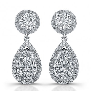 Uneek Pear-Shaped Diamond Drop Earrings, in Platinum