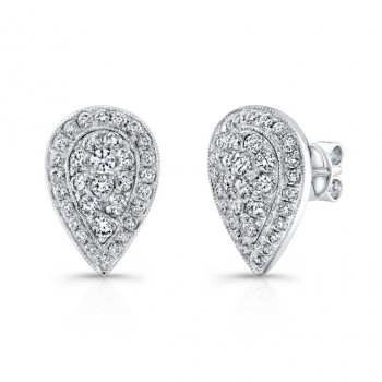 Bouquet Collection 14K White Gold Pear Shaped Diamond Stud Earrings LVE292