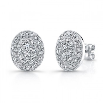 Bouquet Collection 14K White Gold Oval Diamond Stud Earrings LVE293
