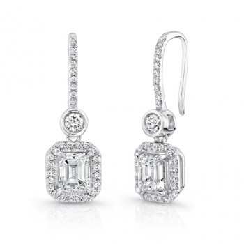 Uneek Emerald-Cut Diamond Drop Earrings with Bezel-Set Round Diamonds, in 18K White Gold