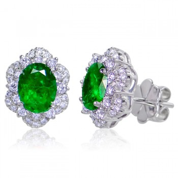 Uneek Oval Emerald Stud Earrings with Diamond Double Halos, in 14K White Gold
