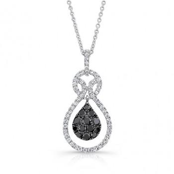 14K White Gold Black Pear Shaped Diamond Pendant LVN009BL