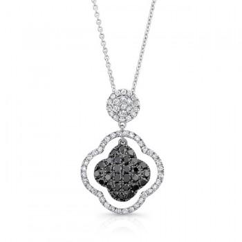 14K White Gold Black Clover Shaped Diamond Pendant LVN011BL