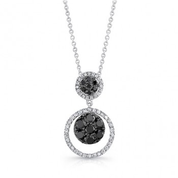 14K White Gold Black Round Shaped Diamond Pendant LVN014BL