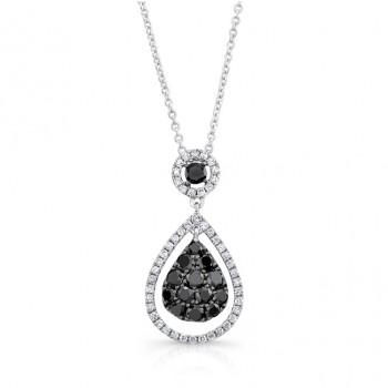 14K White Gold Black Pear Shaped Diamond Pendant LVN016BL