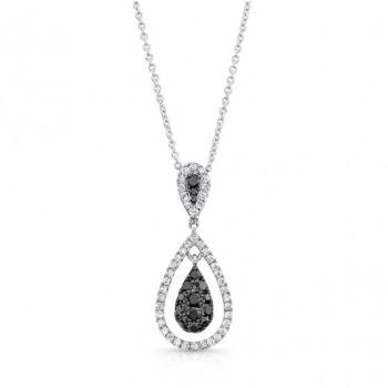 14K White Gold Black Pear Shaped Diamond Pendant LVN017BL