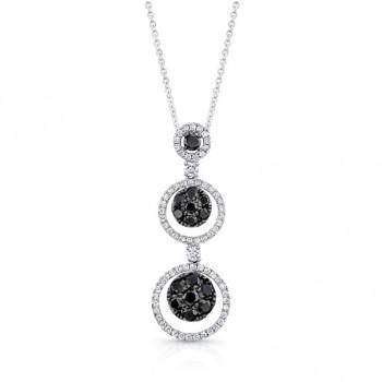 14K White Gold Black Circular Shaped Diamond Pendant LVN020BL