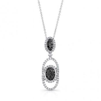 14K White Gold Black Oval Shaped Diamond Pendant LVN021BL