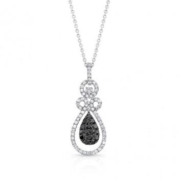 14K White Gold Black Pear Shaped Diamond Pendant LVN022BL